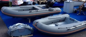 Folding RIBs make their public debut at Southampton Boat Show 2014. In the foreground, a folded 275 (left) and an inflated 275; in the background an inflated 360.