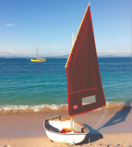 Pram_on_beach_36ft_lugsail