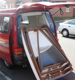 Loading into a VW T4 Camper