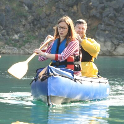 couple paddling nautiraid rando canoe