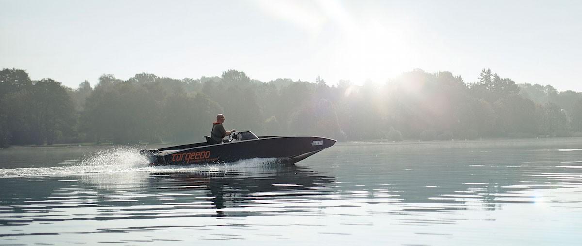 torqeedo motor boat on the plane on a lake