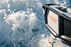 torqeedo outboard engine, wake of boat close up