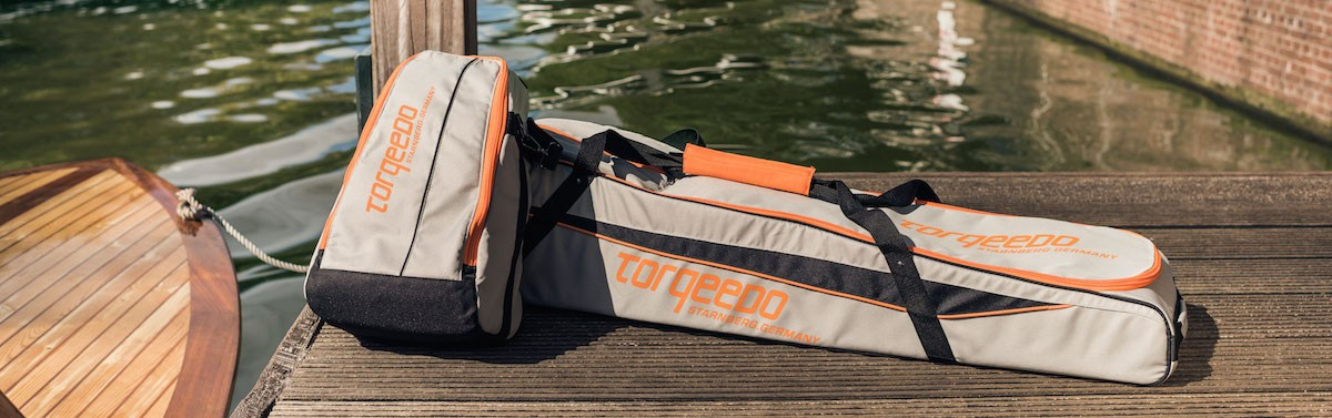 torqeedo carrying bags on deck